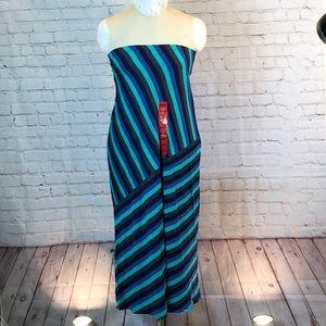 NWT Matty M striped strapless midi dress